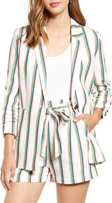 Halogen Stripe Ruched Sleeve Cotton Blend Blazer