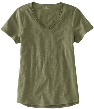 L.L. Bean L.L.Bean Women's Organic Cotton Tee, V-Neck Short-Sleeve