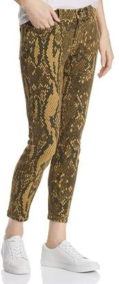 Current/Elliott The Stiletto Snake-Print Cropped Skinny Jeans in Large Burmese Python