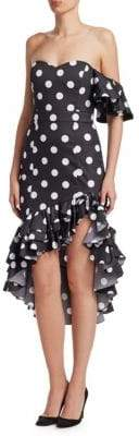 Caroline Constas Cam Polka Dot Dress