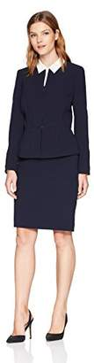 Tahari by Arthur S. Levine Women's Collarless Long Sleeve Skirt Suit
