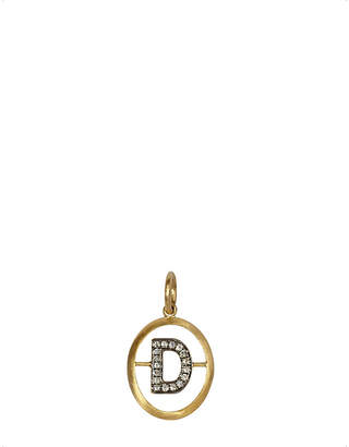 Annoushka 18ct yellow-gold and diamond D pendant, silver