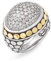 John Hardy Sterling Silver, 18K Yellow Gold & Diamond Ring