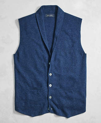 Brooks Brothers Golden Fleece 3-D Knit Cashmere Shawl Collar Sweater Vest