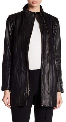 Cole Haan Smooth Leather Car Coat