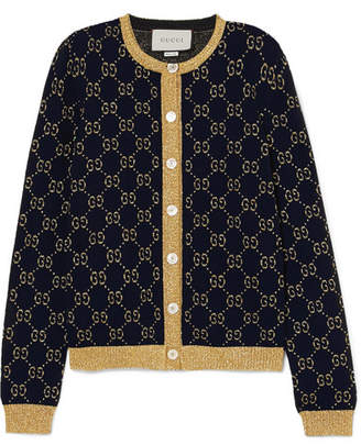 Gucci Metallic Cotton-blend Jacquard Cardigan - Navy
