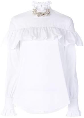 Christopher Kane crystal frill cotton blouse