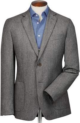 Charles Tyrwhitt Slim Fit Grey Puppytooth Italian Wool Flannel Wool Blazer Size 44
