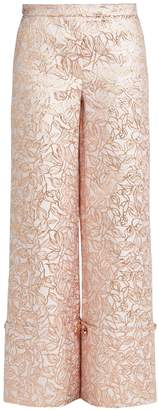 Osman Leaf-brocade turn-up trousers