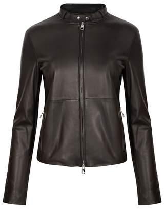 Emporio Armani Anthracite Leather Biker Jacket
