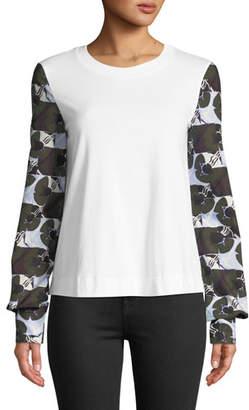 Marni Deco Floral-Print Long-Sleeve Crewneck Cotton Shirt
