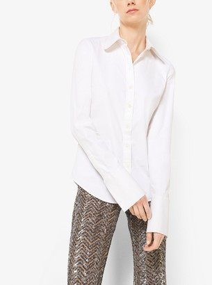 Michael Kors Sequin-Embroidered Herringbone Stretch-Tulle Trousers