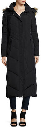 Jones New York Faux Fur Hooded Quilted Coat $300 thestylecure.com