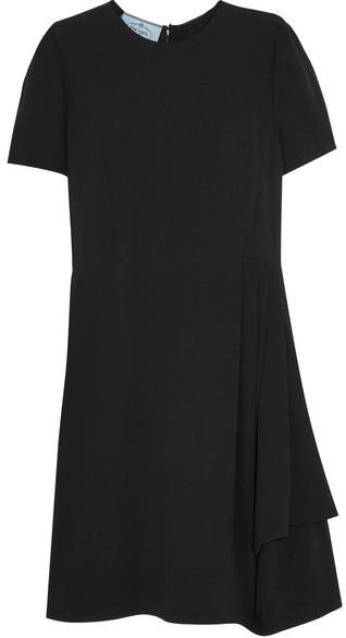 Prada - Pleated Cady Mini Dress - Black
