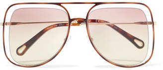 Chloé Poppy Square-frame Acetate And Gold-tone Sunglasses - Lilac