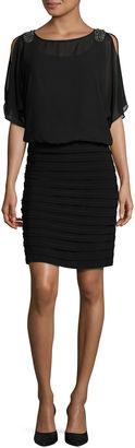 R & M Richards Elbow Sleeve Embellished Blouson Dress-Talls $100 thestylecure.com
