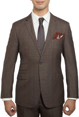 English Laundry Men's Slim-Fit Check Twill Two-Piece Suit, Light Brown