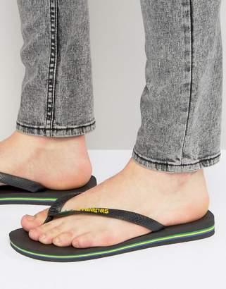 Havaianas Brasil Logo Flip-Flops In Black