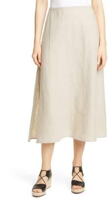 Eileen Fisher Side Slit Organic Linen Skirt