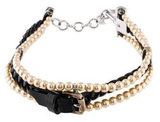 Christian Dior Braided Leather Faux Pearl Choker