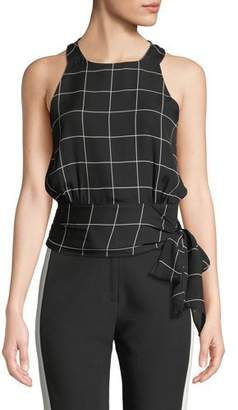 Milly Lauren Check Silk Sash-Tie Top