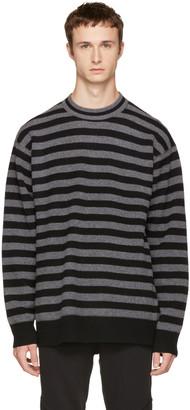 Alexander Wang Grey Striped Merino Crewneck Sweater $375 thestylecure.com