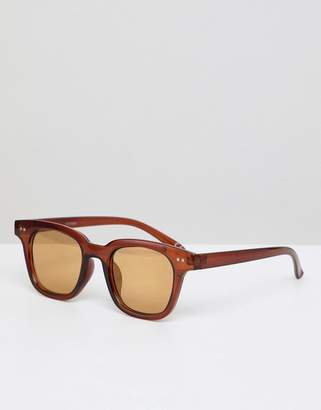 Asos Design Square Sunglasses In Crystal Brown With Gold Mirrored Lens