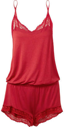 Eberjey Colette Teddy Lace-trimmed Stretch-modal Jersey Playsuit - Red