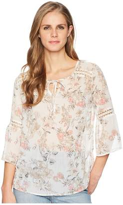 Tribal Floral 3/4 Bell Sleeve Crinkle Chiffon Printed Blouse Women's Blouse