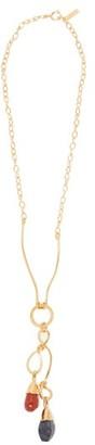 Marni Pietra Dura Stone Drop Metal Necklace - Womens - Gold