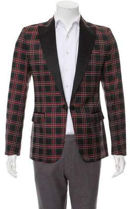 DSQUARED2 Silk Plaid Tuxedo Jacket w/ Tags