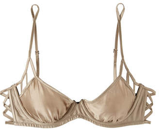 Kiki de Montparnasse Stretch-silk Satin Underwired Balconette Bra - Mushroom