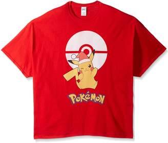 Pokemon Men's Big and Tall Pikachu Poke Ball Christmas T-Shirt B&T