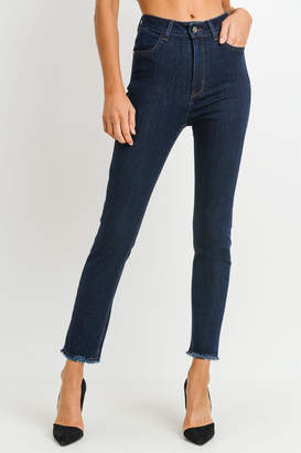 Just Black Denim High-Rise Frayed-Hem Jeans