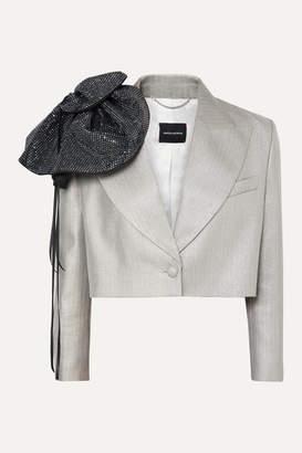 Magda Butrym Cropped Crystal-embellished Metallic Wool-blend Blazer - Silver