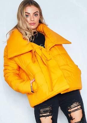 Missy Empire Missyempire Chloe Mustard Tie Neck Puffer Jacket