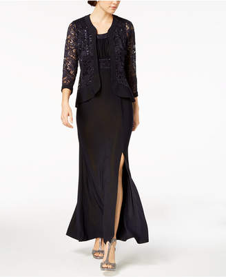 R & M Richards Sequined Lace Empire-Waist Gown & Jacket