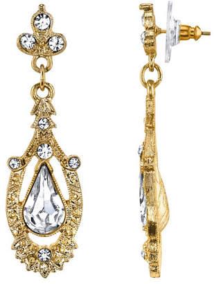 Downton Abbey Gold-Tone Crystal Edwardian Pear Shaped Center Drop Earrings