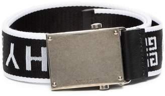 Givenchy black white logo belt