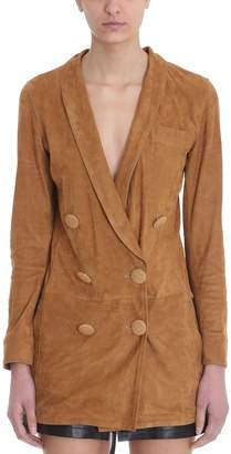 numerootto Delfina Camel Suede Leather Jackets