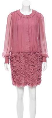 Vivienne Tam Gathered Silk Dress