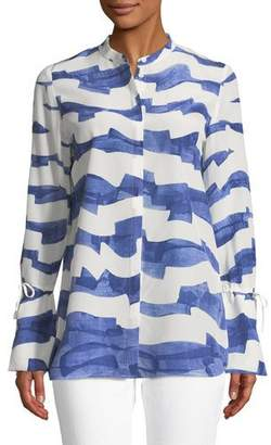 Lafayette 148 New York Desra Watercolor Waves Silk Blouse