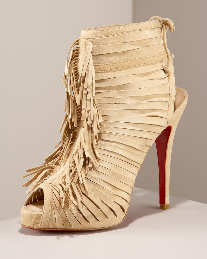 Christian Louboutin Suede Cage Bootie