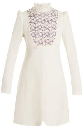 Giambattista Valli Floral lace-trimmed high-neck crepe dress