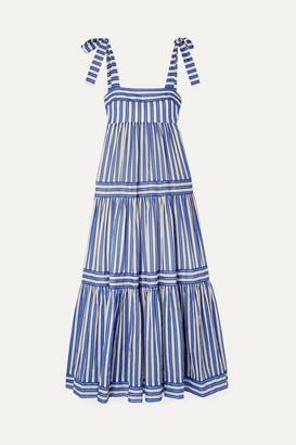 Zimmermann Verity Tiered Striped Cotton-voile Maxi Dress - Blue