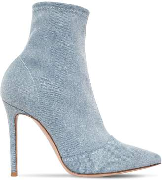 Gianvito Rossi 105MM STRETCH DENIM ANKLE BOOTS