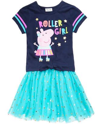 Peppa Pig 2-Pc Printed T-Shirt & Foil Star Skirt Set, Toddler Girls
