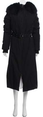 Prada Sport Fur-Trimmed Long Coat