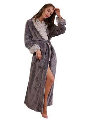 Insun Women's Shawl Collar Winter Warm Thick Long Coral Fleece Bathrobe XL