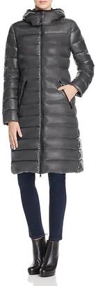 Moncler Moka Charcoal Long Down Coat $1,115 thestylecure.com
